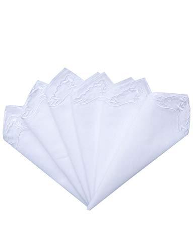 MileyMarla Ladies Embroidery Cotton White Handkerchiefs Lace Wedding HankiesB-6pcs