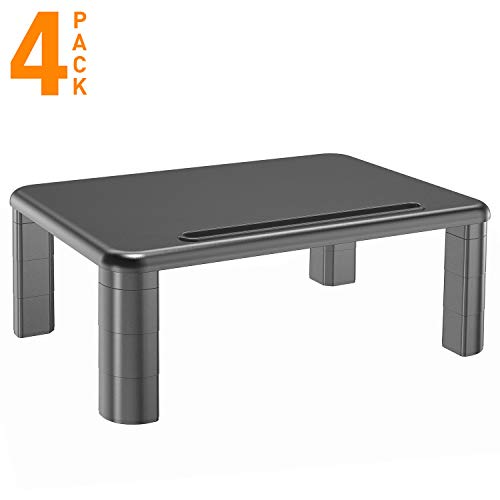 Monitor Stand Riser with Vented Metal for Computer, Laptop, Desk, iMac, Printer with 14.5 Platform 4 inch Height (4 pack, Black) by HUANUO