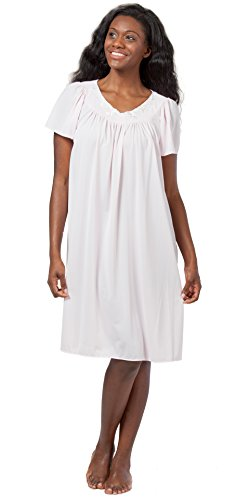 Miss Elaine Short Nightgown Classics Nylon Gown - Soft Pink (Small (6-8), Pink) Pink Nylon Gown