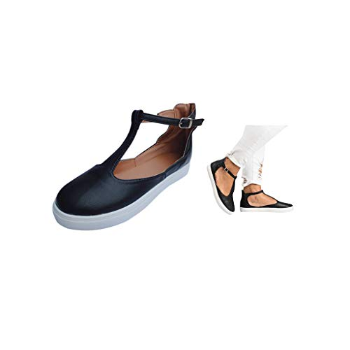 (Elevin(TM) Women Flat Sandals Platform Peep-Toe Beads Summer Causal Shoes Flip Flops (US:9, Black))