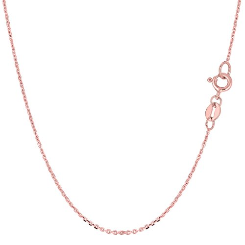 14k Rose Gold Cable Link Chain Necklace, 1.1mm, 18