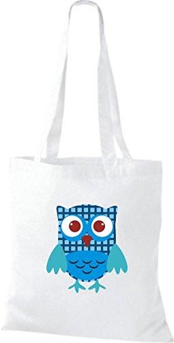 ShirtInStyle Jute Stoffbeutel Bunte Eule niedliche Tragetasche Owl Retro diverse Farbe, Weiß