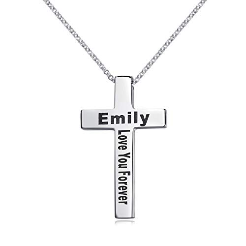 Engraved Cross Necklace Sterling Silver White Gold Plated Personalized Pendant for Men Women Custom Made with Names Dates (Silver)