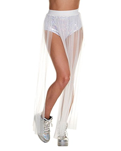 iHeartRaves Fairy Tulle Tutu Long Sheer Maxi Skirt (Medium, White)