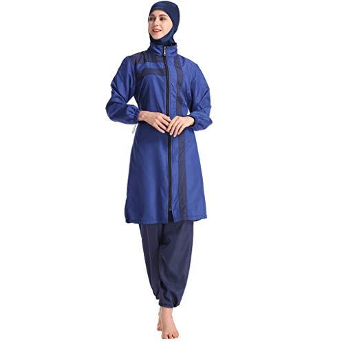 ZOMUSAR Muslim Clothes, Women Muslim Bathing Suit with Cap Solid Color Swimsuit Beachwear Women Swimwear Blue