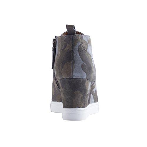 Linea Paolo Felicia | Delle Donne In Pelle Cuneo Della Piattaforma Bootie Sneaker In Camoscio O Camuffamento Di Stampa In Scamosciato