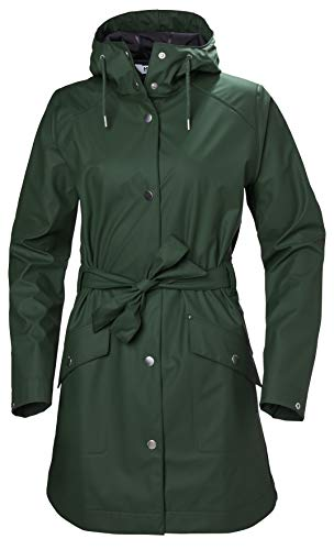 Helly Hansen Women's Kirkwall Ii Waterproof Pu Belted Rain Coat with Hood, Jungle Green, X-Small