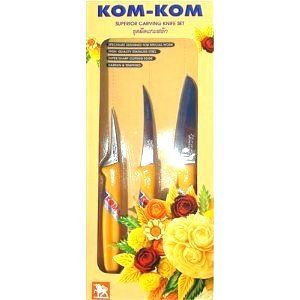 Kom Kom Superior Stainless Steel Carving Knife Set for Fruit and Vegetable Thailand Product