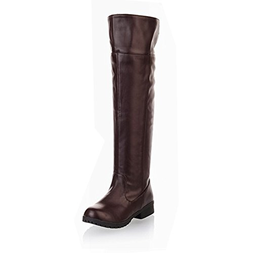 KANI×KANI(カニ×カニ)進撃の巨人 ロングブーツ 長ブーツ 長靴 コスプレ 防寒 美脚 編込み 厚底 ニーハイ レディース メンズ 大きいサイズ 滑りにくいKNKNFBAJP07 (26.5  ブラウン)