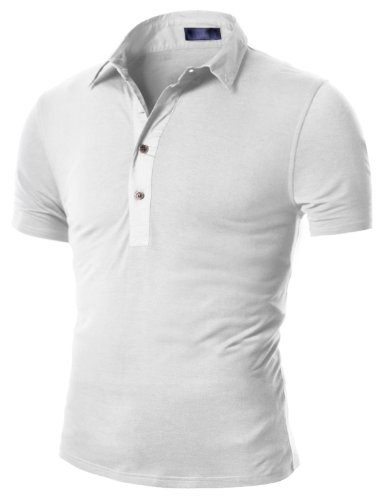 Doublju Mens Henley Polo T-shirts with Short Sleeve