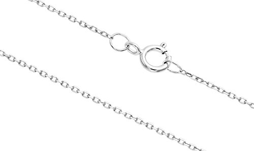 Tilo Jewelry 14K White Gold 0.6mm Diamond-cut Cable Chain-17 Inch ()