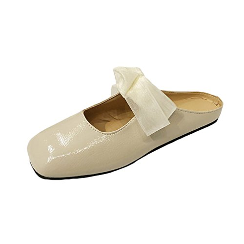 Jitong Retro Slip-on Sandals for Women Square-Toe Low top Flat Slippers with Bowknot Beige 8RerhnYSf5