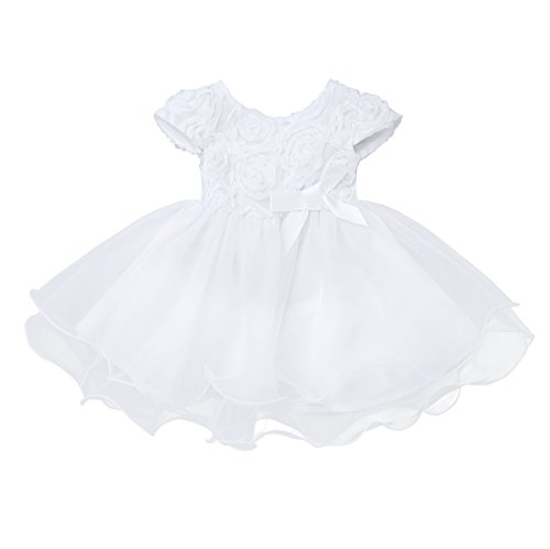 (MSemis Newborn Toddler Baby Girls' 3D Rose Flower Organza Party Wedding Christening Baptism Dress White 18-24 Months)