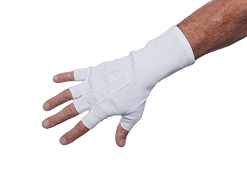Big Ten Half Finger Wrist Cotton Gloves for Men (White, X-Large)