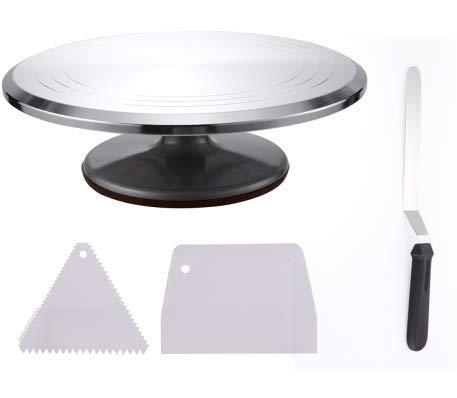 12インチのケーキデコレーションターンテーブル、角度付きアイシングスパチュラ (8インチ) 1個、アイシングスムース2個 アルミニウム合金構造 滑らかなベアリングと滑り止めシリコンボトム。   B07HRH7WBL