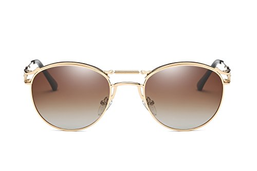 métal pour Unisexe femme Frame Brown Lunettes mode Cadre en Lens polarisées homme soleil de rond de Bevi Gold Design wY86qXST