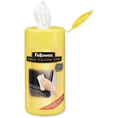 - Fellowes Screen Wipes - Streak-free, Pre-moistened, Non-toxic, Anti-static, Alcohol-free - 160/Canister - White