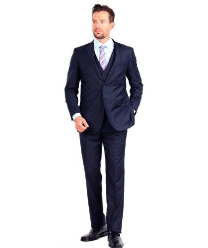 Tazio Mens Suit 2 Button 3 Piece Slim Fit Navy 40L