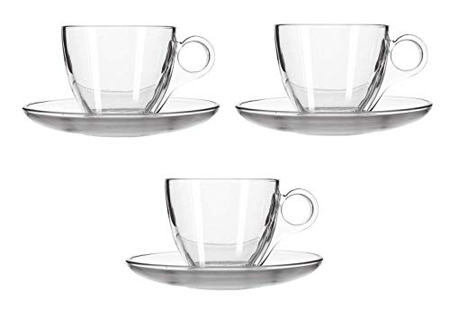 Bright Stone Crystal Clear Glass Tea Cup and Saucer Set 150ml  GlassSet of 4 2 Cup  amp; 2 Saucer