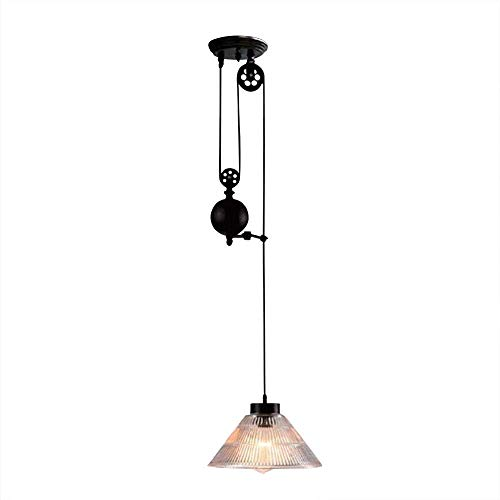 Industrial Ceiling Light Shade, Chandelier Adjustable 1 Light E27 Socket with Cone Ribbed Glass for Indoor House Living Room Bar Restaurants Coffee Shop Club Decoration