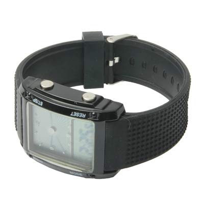 Reloj Digital doble pantalla LCD multicolor LED Digital/Sport cronógrafo de herramientas negro: Amazon.es: Relojes