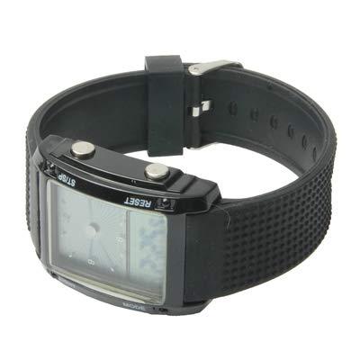 Reloj Digital doble pantalla LCD multicolor LED Digital/Sport cronógrafo de herramientas negro: Amazon.es: Relojes