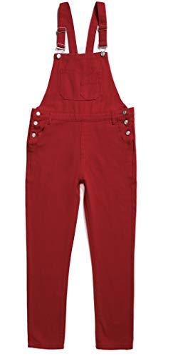 Women's Adjustable Strap Ripped Distressed Original Denim Overalls (M, Red)