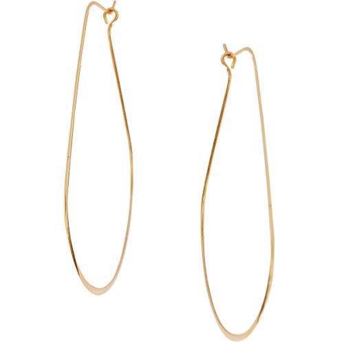 Lightweight Threader Big Hoop Earrings - Round Oval Open Geometric Drop Dangles, Oval 24K Yellow, Gold-Electroplated, Hypoallergenic, by Humble Chic NY by Humble Chic NY (Image #1)