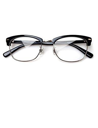 Komehachi - Mens Browline Classic Semi Rimless Clear Lens Eyeglasses Frames (Black - Browline Frames Eyeglass