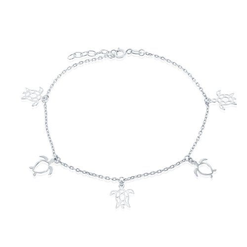 Sterling Silver High Polish Cut-Out Sea Turtle 9 1 Anklet