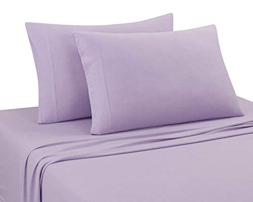 (DELANNA Jersey Knit Sheet Set Soft, Breathable, Cotton Rich T-Shirt Weave (Lilac, Full))
