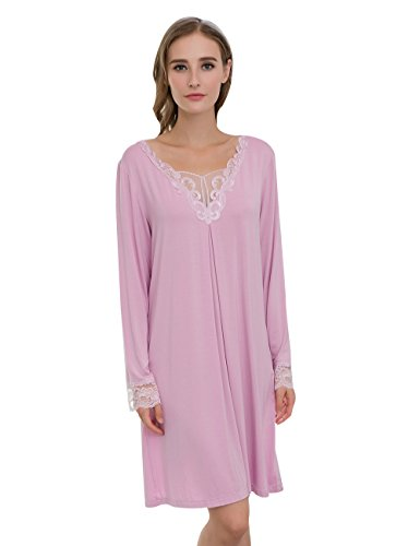 Percent Skirt 100 (QIANXIU Womens Skirt new classic solid color 100 percent cotton fiber soft nightdress Light Purple Large)
