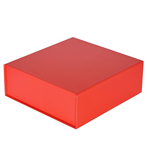 Easy Christmas Cherry Red Large Gift Box 10 x 10 x 3inches | Set of 3 | Decorative Luxury Box Collapsible and Stackable with Attached Lid