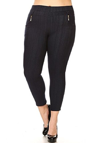 JVINI Women's Plus Stretchy Fleece Lined Skinny Knit Denim Cropped Leggings Navy (Cropped Fleece Pant)