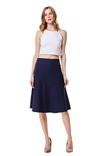 Navy Twill Skirt (MoDDeals High Waist A-Line Below The Knee Flared Midi Skirt Stretch Woven, Navy, Large)