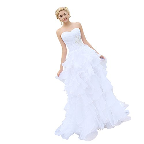 YIPEISHA Women's Sleeveless Beading Ruffled Full Length Evening Wedding Dresses (Ruffled Wedding Gown)