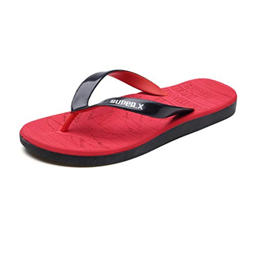Corriee Mens Womens Flip Flops Unisex Lightweight Cozy Indoor Outdoor Beach Sandals Red (Buy Online Cushion)