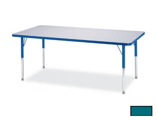 (Jonti-Craft Rainbow Accents Rectangle Activity Table Teal, 48L x 24W inches)