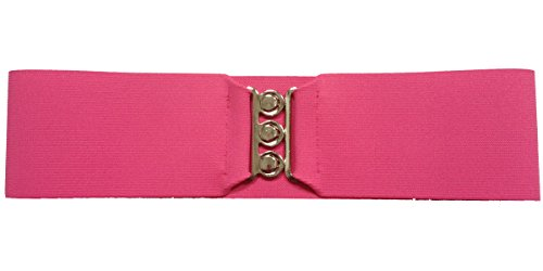 "Silver Clasp 50s Style Cinch 3"" Wide Elastic Belt for Women Junior and Plus Sizes Hot Pink XS/S"