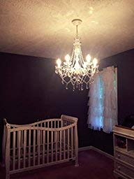 The Original Gypsy Color 5 Light Medium Crystal Chandelier H21'' W19'', White Metal Frame with Clear Acrylic Crystals (Better Than Glass) by Gypsy Color (Image #4)