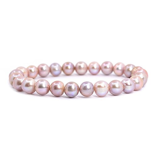 Natural Genuine Pink Pearl Gemstone 8mm Round Beads Stretch Bracelet 7