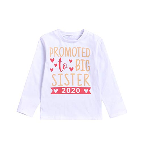 JEELLIGULAR Baby Girl Promoted to Big Sister 2020 Letter Print Clothes Outfit T-Shirt Top Blouse Shirts (2020 Long Sleeve, 1-2Y)