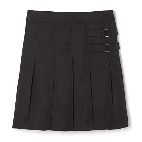 French Toast  Girls' Two-Tab Pleated Scooter skirt, Black, 8,Big Girls -