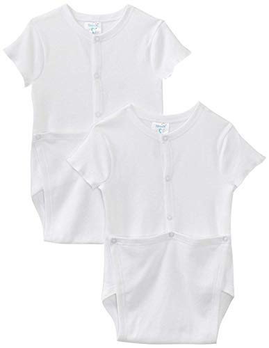 Baby Wrap Bodysuit - Spasilk Unisex-baby 100% Cotton Short Sleeve Wrap 2-Pack Bodysuit - Newborn, White