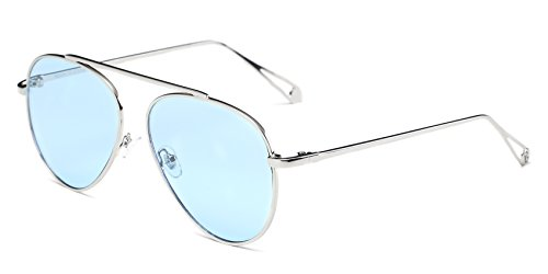 Cramilo Circle Retro Vintage Metal Frame Colored Lens Round Aviator - Aviator Sunglasses Colored