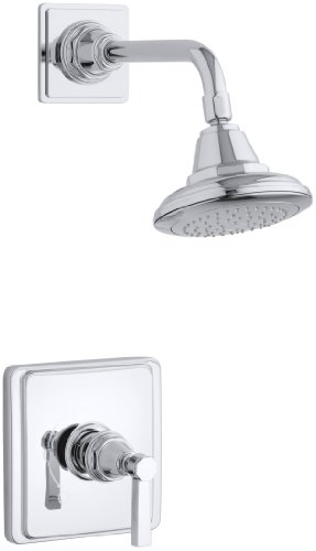 KOHLER K-T13134-4A-CP Pinstripe Pure Shower Faucet Trim with Lever Handle, Polished Chrome