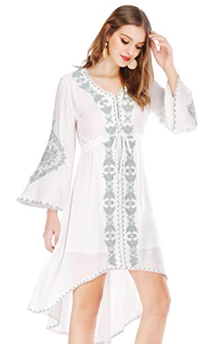 R.Vivimos Womens Cotton Embroidered High Low Long Dresses Medium White