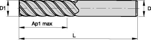 6-Flute RH Cut Carbide WIDIA Hanita TC4S0710004 4S07 HP Finishing End Mill TiCN Coating 0.375 Cutting Dia 0.375 Shank Dia