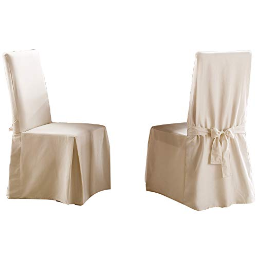 SureFit Long Dining Chair Slipcover - Cotton Duck - Up To 42 Inches Tall - Machine Washable - 100% Cotton - Natural (Slipcovers For Dining Room Chairs With Rounded Backs)
