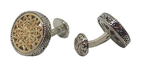- D&L Menswear Two Tone Silver Gold Plated Celtic Round Cufflinks